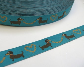 Blue Dachshunds Dog Lead , handcrafted , matching luxury dog collar to order, luxury dog leash, dogs , pets, jacquard ribbon,
