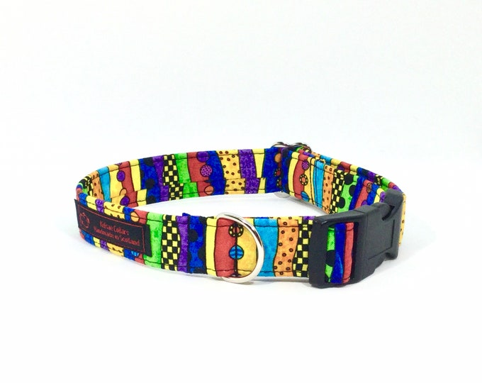 Featured listing image: Doodles Stripes Collar,luxury dog collar, luxury dog leash available, dogs, pets, stripes, made in Scotland