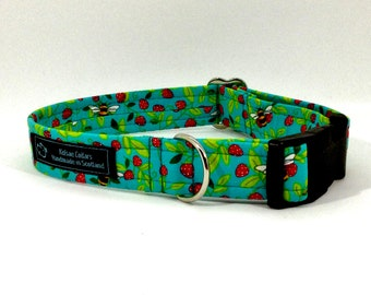 Bees and Strawberries dog collar,luxury dog collar, Dogs, Pets, made in Scotland, bees, turquoise, leaves