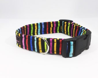 Stripes on Black Collar, luxury dog collar, luxury dog leash, dogs, pets, stripes, made in Scotland