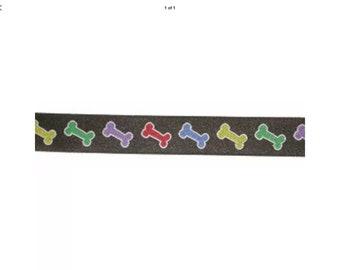 Bones Dog Lead , handcrafted , matching luxury dog collar to order, luxury dog leash, dogs , pets, jacquard ribbon,