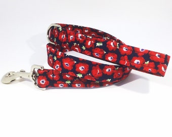 Poppy Lead, leash, poppies, rememberence, luxury dog leash, dogs, pets