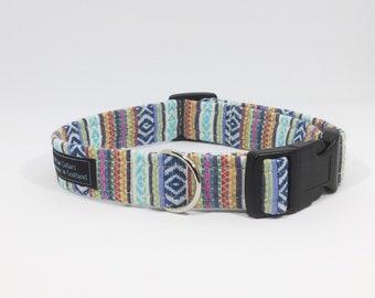 Pink Ikat Collar, luxury dog collar, luxury dog leash, dogs, pets, striped, Ikat, made in scotland