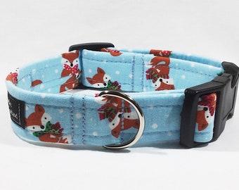 Christmas Fox Dog Collar,Christmas,dog collar,luxury dog collar,festive,made in scotland,fox