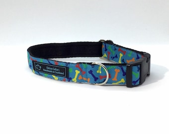 Mixed Bones Collar,made in Scotland,jacquard ribbon,luxury dog collar, dogs, pets, handcrafted