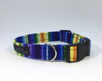 Tweed Valley Collar, luxury dog collar, dogs, pets, stripes, handcrafted