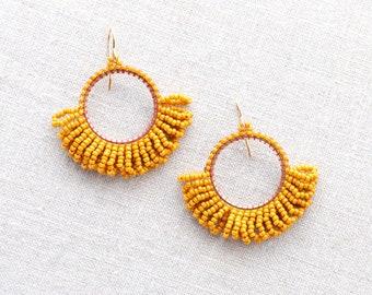 985118828c2784 Beaded Hoop Fringe Earrings in Bright Goldenrod Yellow