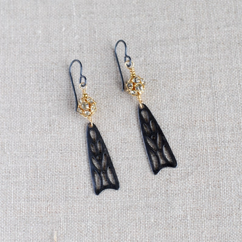 Black and Gold Art Deco Dangle Earrings with Swarovski Crystal image 0