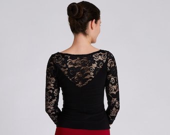 """Black Lace Top with Sleeves, Dance Top, Top with Sleeves, Tango Top, Ballroom Top, Dancewear, Party Top - ColeccionBerlin Design """"LUNA"""""""