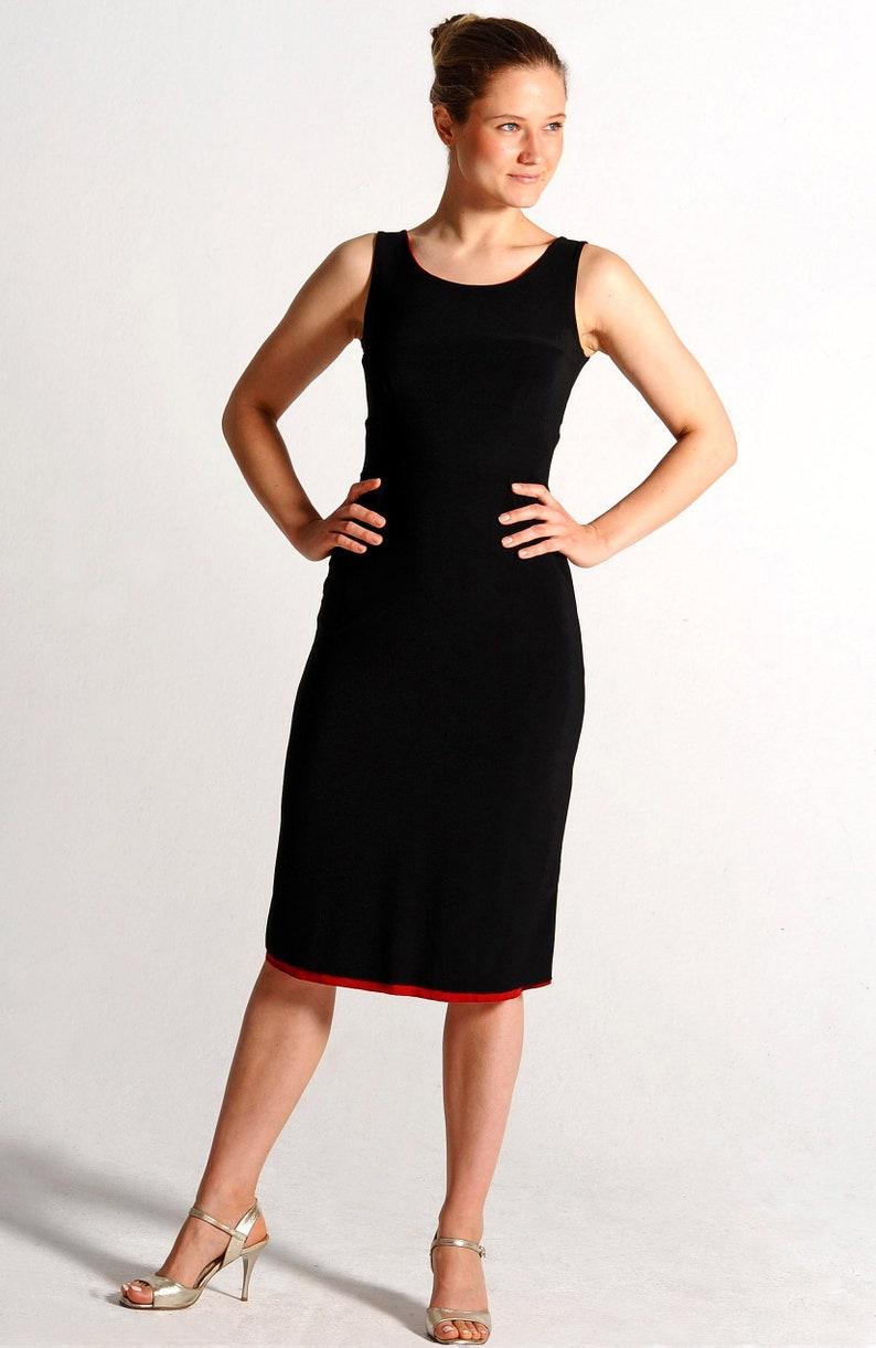 Reversible Tango Kleid ISABEL Berry rot / schwarz Kreuz ...