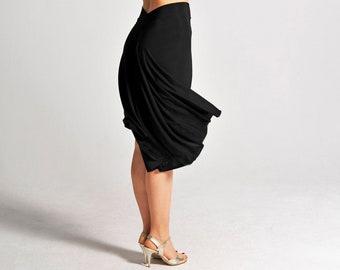 """Tango Skirt with Slit in Black, Dance Skirt, Ballroom Skirt, Fishtail Skirt, Tailed Skirt, Stretch Skirt - ColeccionBerlin Design """"PAOLA"""""""