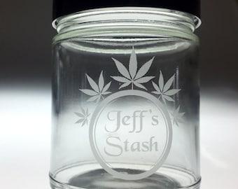 Personalized 5 Leaf Stash jar, maryjane,marijuana,weed,marijuana jar,marijuana container,weed jar,marijuana gift,custom marijuana jar,