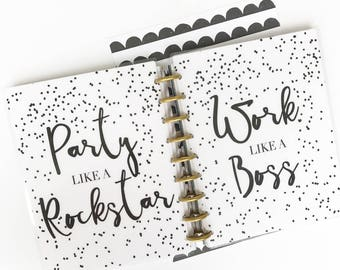 "Happy Planner Cover Set: ""Like A Boss"" 10 Mil Laminated"