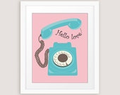 Retro telephone art vintage rotary dial phone romantic print in pink and aqua with Hello Love text Printable wall art INSTANT DOWNLOAD
