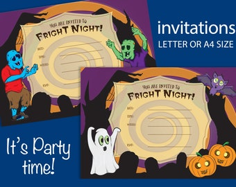 Fright Night Halloween Invitations set of 4 postcard size designs cartoon quirky halloween illustrations printable INSTANT DOWNLOAD