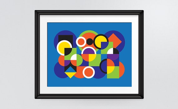 Abstract Art Print Overlapping And Intersecting Circles And Squares Colourful Modern Shapes Wall Art Home Decor Instant Download