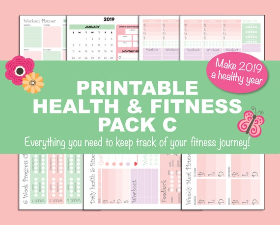 Printable Health & Fitness Pack C daily and weekly record, workout planner  in watermelon, green, mauve