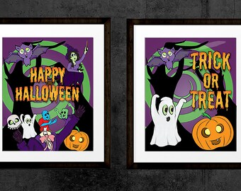 Set of 4 Halloween cartoon Trick or Treat and Happy Halloween prints. Features Zombies, ghosts, witches, bats & pumpkins. INSTANT DOWNLOAD