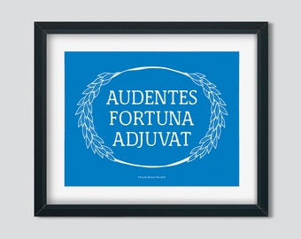 Fortune favours the bold. Latin quote with laurel wreath design. Inspirational print in blue. Office wall decor. INSTANT DOWNLOAD