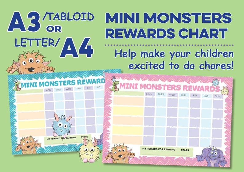 Mini Monsters Cute Cartoon Design Childrens Reward Chart for image 0