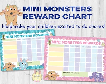 Mini monsters children's reward chart for chores done. Cute cartoon design teaching aid. Set of 2 Pink and Blue. printable INSTANT DOWNLOAD