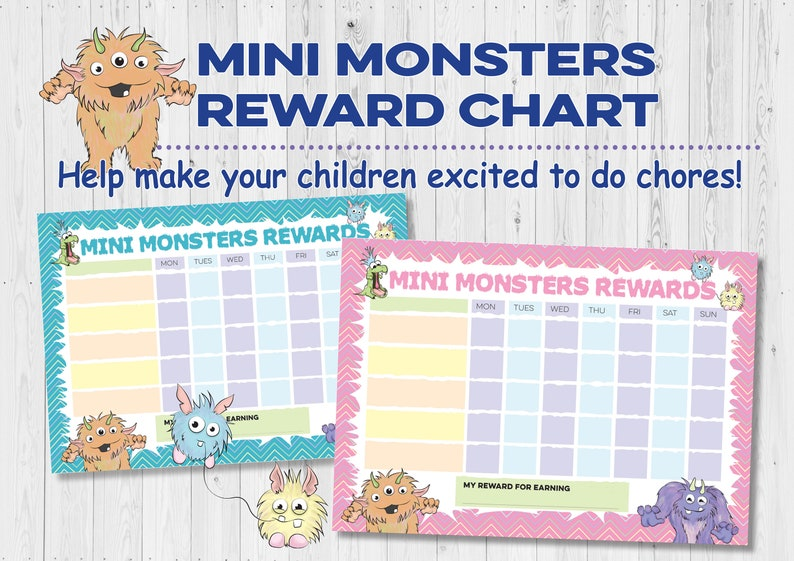 Mini monsters children's reward chart for chores done. image 0