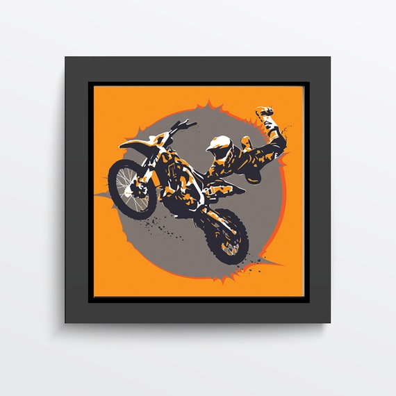 Wall Stickers Motorbike Stunt Jump Cool Smashed Decal 3D Art Vinyl Room D926
