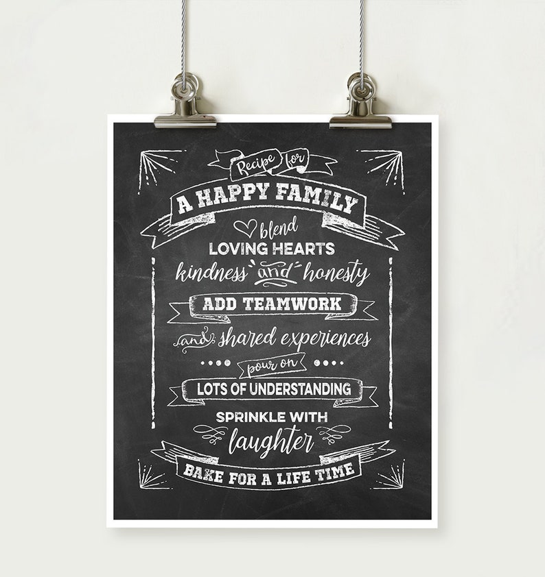 Recipe For A Happy Family Printable Chalkboard Quote Home Etsy