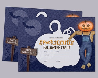 Spooktacular halloween party postcard size invitation printable halloween template and Poster set INSTANT DOWNLOAD