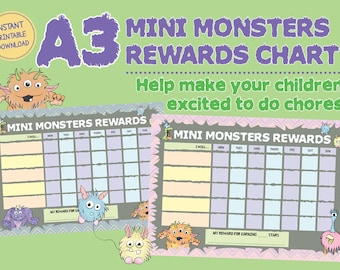 Mini Monsters Cute Cartoon Design Childrens Reward Chart for Chores Done Set of 2 printable INSTANT DOWNLOAD