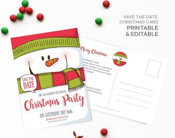 Save The Date Card Save The Date Christmas Party Invitation Etsy