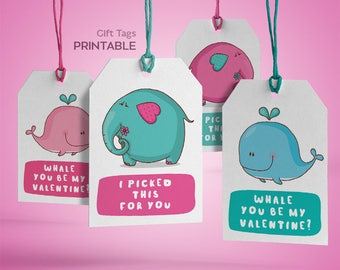 Printable Valentine gift tags, Valentine's day tags, DIY Valentine Tag, Printable Valentine, Tags, Instant download, Valentines tags