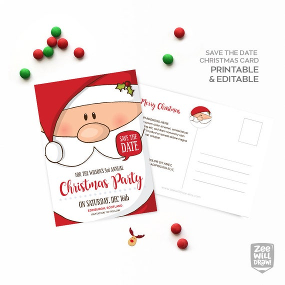 Christmas Save The Date Clipart.Save The Date Card Save The Date Christmas Party Invitation Birthday Party Santa Santa Claus Printable Card Instant Download