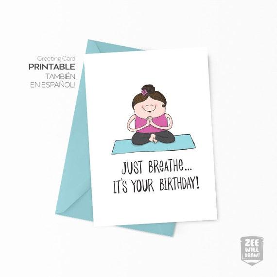 Yoga Card Printable Birthday Card Yoga Birthday Card Yoga Etsy