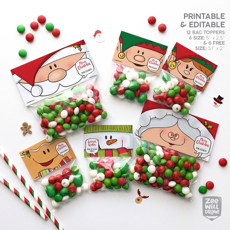 photograph relating to Christmas Bag Toppers Free Printable referred to as Xmas bag topper, Xmas handle bag topper, Xmas, PRINTABLE, Xmas decor, take care of bag, Do-it-yourself, Santa, Elf, Snowman, Gingerbreadman