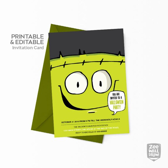 Halloween Invitation Editable Frankenstein Card Kids Party Halloween Party Invitation Birthday Party Printable Card Monster Diy