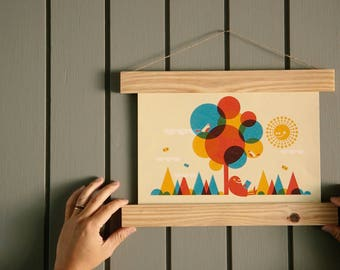Magnetic Picture Hangers - Natural Wood (top + bottom)