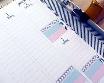 PRINTED A5 VERTICAL Week on Two Pages (WO2P) with TRACKERS printed planner inserts dated planner inserts fits Erin Condren stickers Kikki