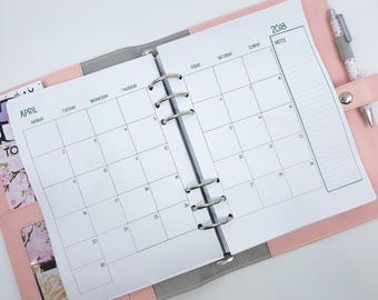 A5 Monthly Planner Inserts with lists on back - MO2P - Month on two pages  -  printed planner refill for large Kikki K, Filofax - calendar
