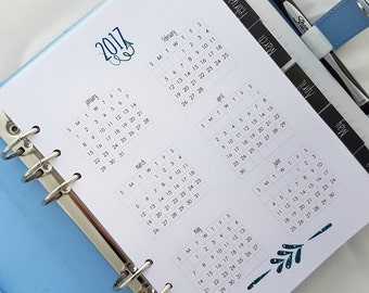 Printed A5 Yearly Calendar 2018 Yearly Planner insert | Year at a Glance | Year over two pages |  YO1P | Yearly Calendar for Kikki K Filofax