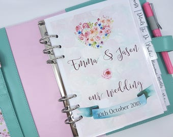 Printed A5 Wedding Planner Bundle with 7 dividers, dashboard and over 100 printed planner inserts - wedding planner inserts for A5 binders