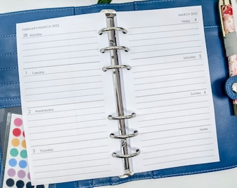 Personal Size Week on Two Pages Printed Planner Inserts  with notes space - horizontal wo2p filofax refill week over two pages inserts