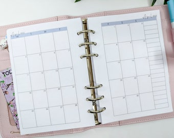 Personal Size Month on two pages Printed Planner Inserts   Dated Printed Planner Inserts   Planner refill filofax refill, MM agenda, etc