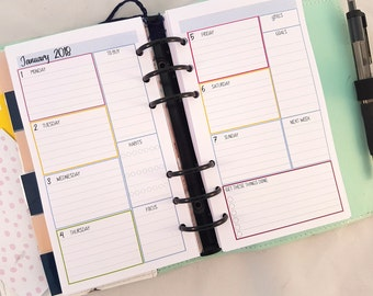 Personal size Week on Two Pages Colour Printed Planner Inserts| Wo2p | weekly planner refill, Printed Planner Inserts,  Kikki K Filofax etc
