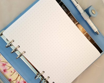 Printed A5 dot grid paper | printed planner inserts | planner refill | punched dot grid paper for planners | grid notepaper for Filofax etc