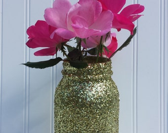 Glitter Mason Jar Vase - Available in Many Colors