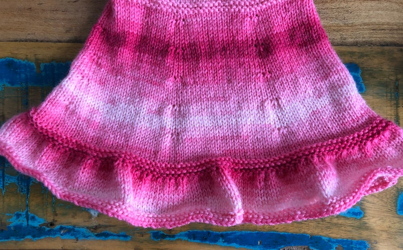Handmade knitted pink flared dress 6 months- 6 years