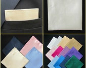 Cream Pocket Square Handkerchief Hanky Kerchief Faux Silk. White Cream Pink Purple Red Blue Navy Black