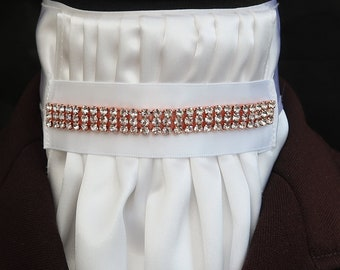 Ready Tied White Gold /& Burgundy Triple Piping /& Diamante Riding Stock//scrunchie