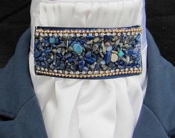 Prêt lié bleu marine /& blanc Pin Dot coton stock /& Chouchou de chasse//Dressage